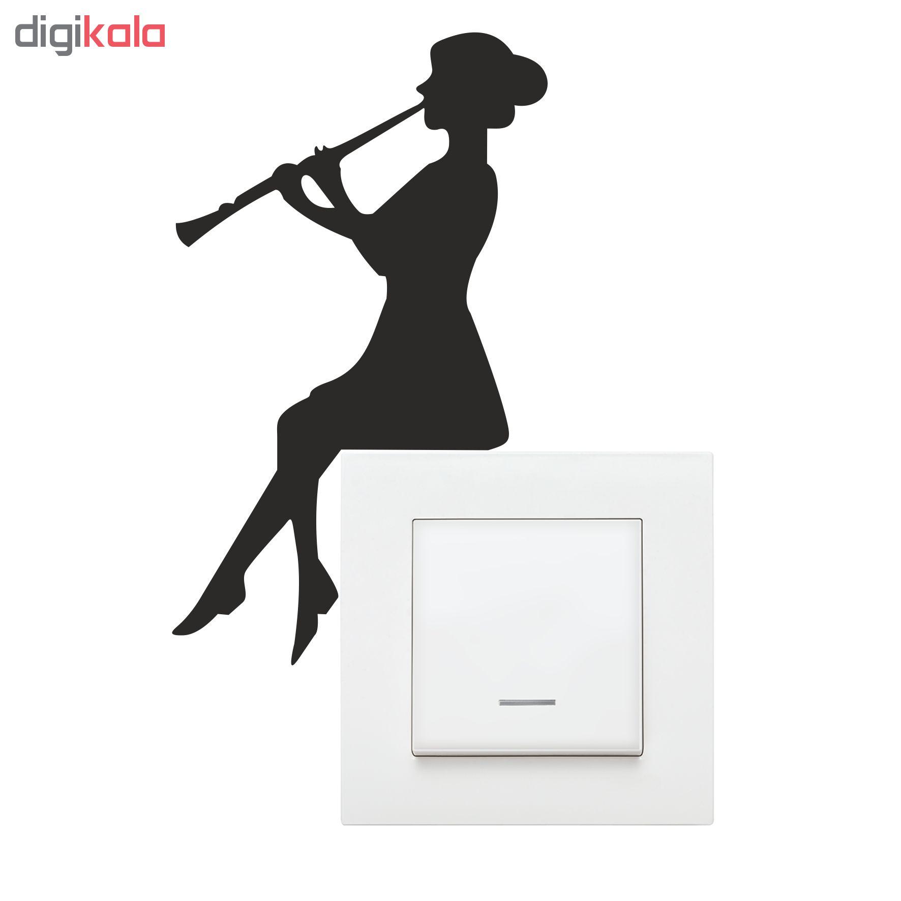استیکر فراگراف کلید و پریز چاپ پارسیان طرح دخترک نوازنده کلارینت بسته دو عددی