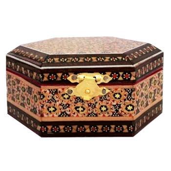 جعبه جواهرات خاتم کاری طرح گل  کد MRK4