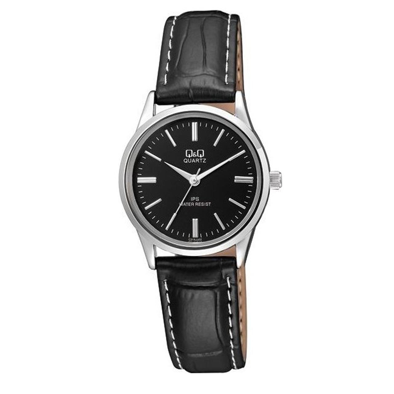 ساعت مچی عقربه ای زنانه کیو اند کیو مدل c215j302y به همراه دستمال مخصوص برند کلین واچ