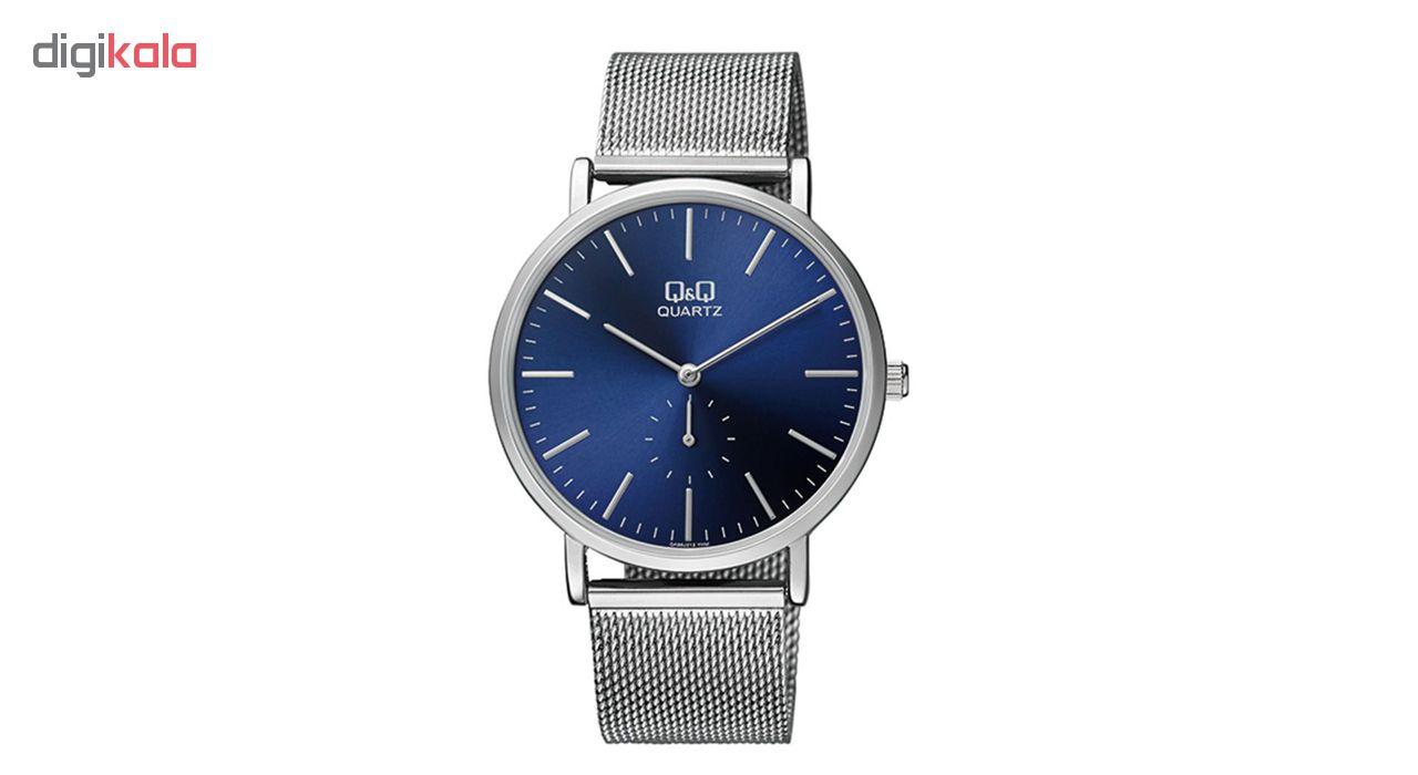 خرید ساعت مچی عقربه ای مردانه کیو اند کیو مدل qa96j212y  به همراه دستمال مخصوص برند کلین واچ