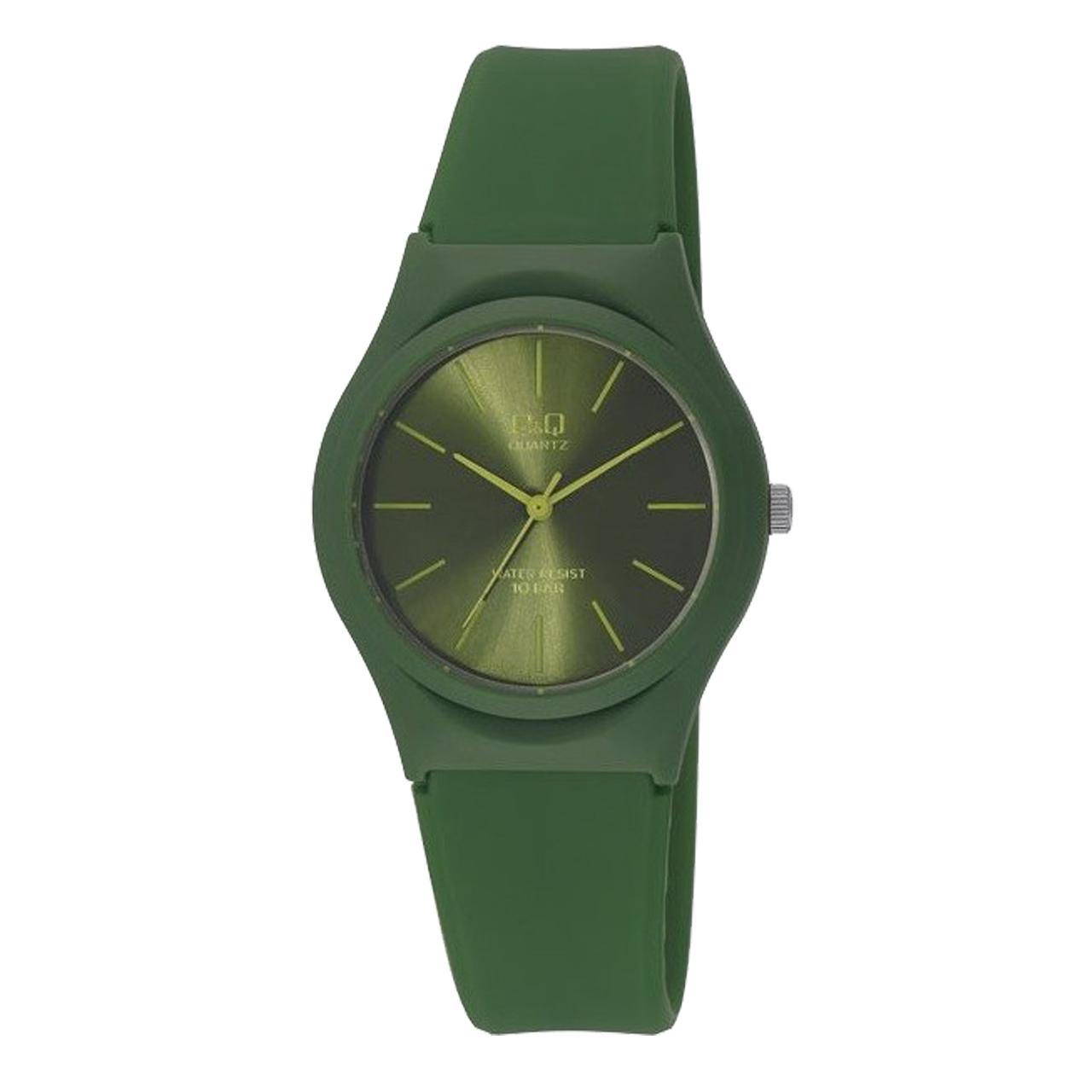 ساعت مچی عقربه ای زنانه کیو اند کیو مدل vq86j024y  به همراه دستمال مخصوص برند کلین واچ