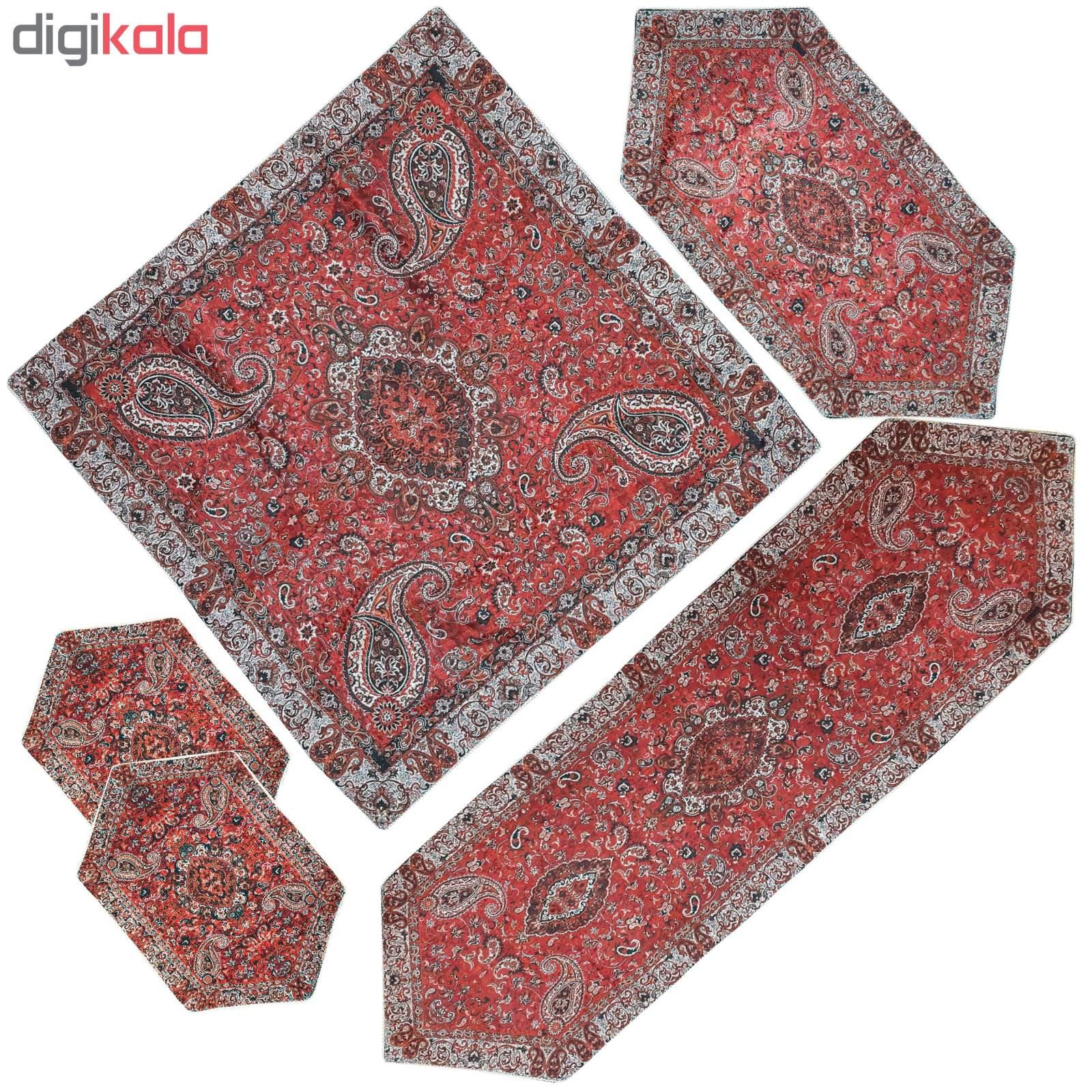 رومیزی ترمه طرح شاه عباسی مدل 5/RED5 مجموعه 5 عددی