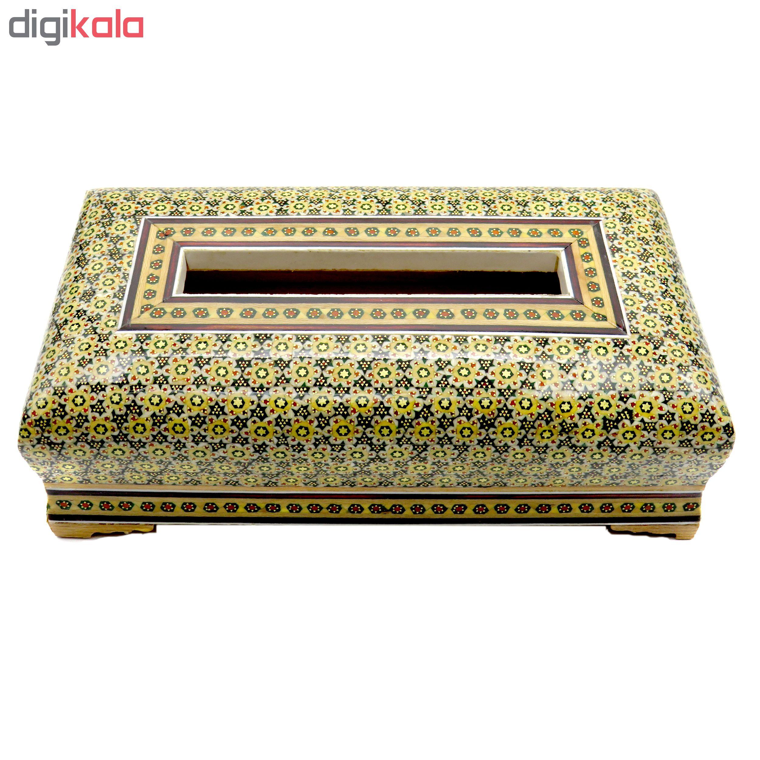 خرید                      جعبه دستمال کاغذی خاتم کاری مدل SAHRa-450A