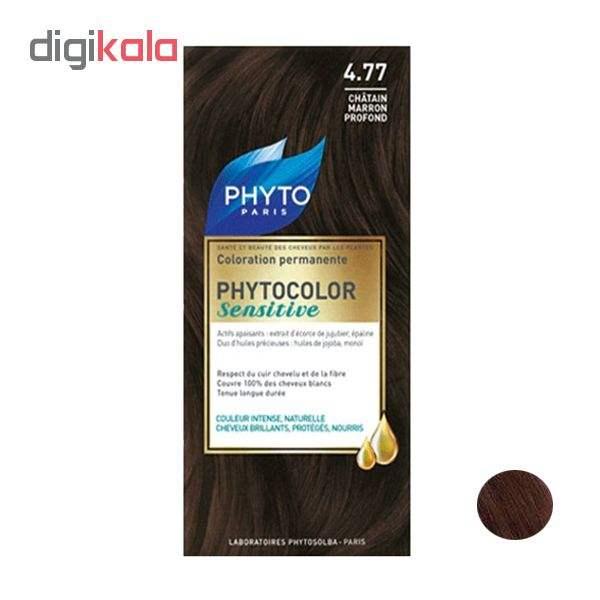 کیت رنگ مو فیتو شماره 4.77 حجم 60 میلی لیتر رنگ قهوه ای بلوطی تیره