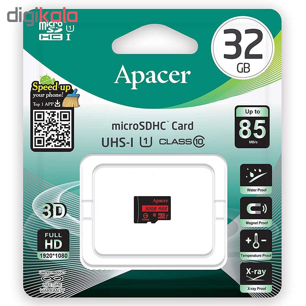 کارت حافظه microSDHC اپیسر مدل AP32G کلاس 10 استانداردUHS-I U1 سرعت 85MBps ظرفیت 32 گیگابایت  Apacer AP32G UHS-I U1 Class 10 85MBps microSDHC - 32GB