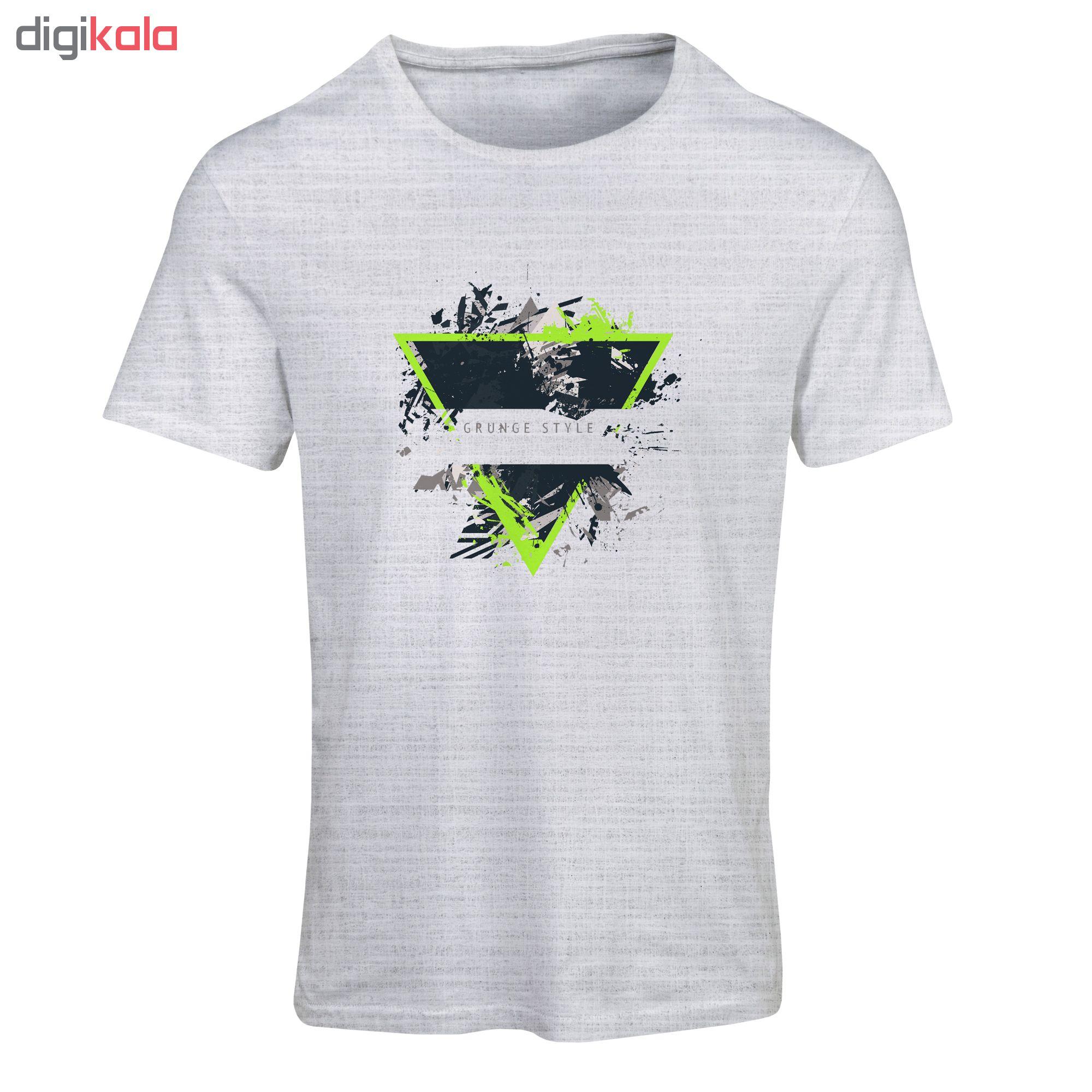 تیشرت آستین کوتاه مردانه طرح مثلث سبز کد SM174