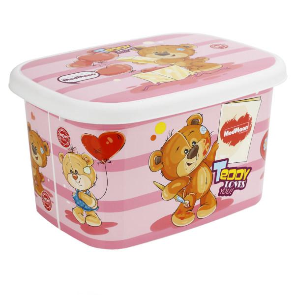 جعبه اسباب بازی کودک مدمان طرح خرس صورتی کد1