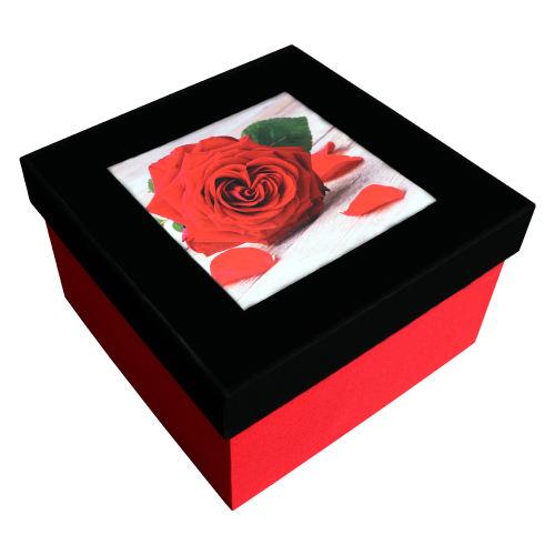 جعبه هدیه چوبی طرح رز قلبی مدل Bx-PM