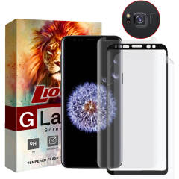 محافظ صفحه نمایش یووی لایت و 6D Dual و نانو لایونکس مدل LVB مناسب برای گوشی موبایل سامسونگ Galaxy S8 مجموعه سه عددی به همراه محافظ لنز دوربین