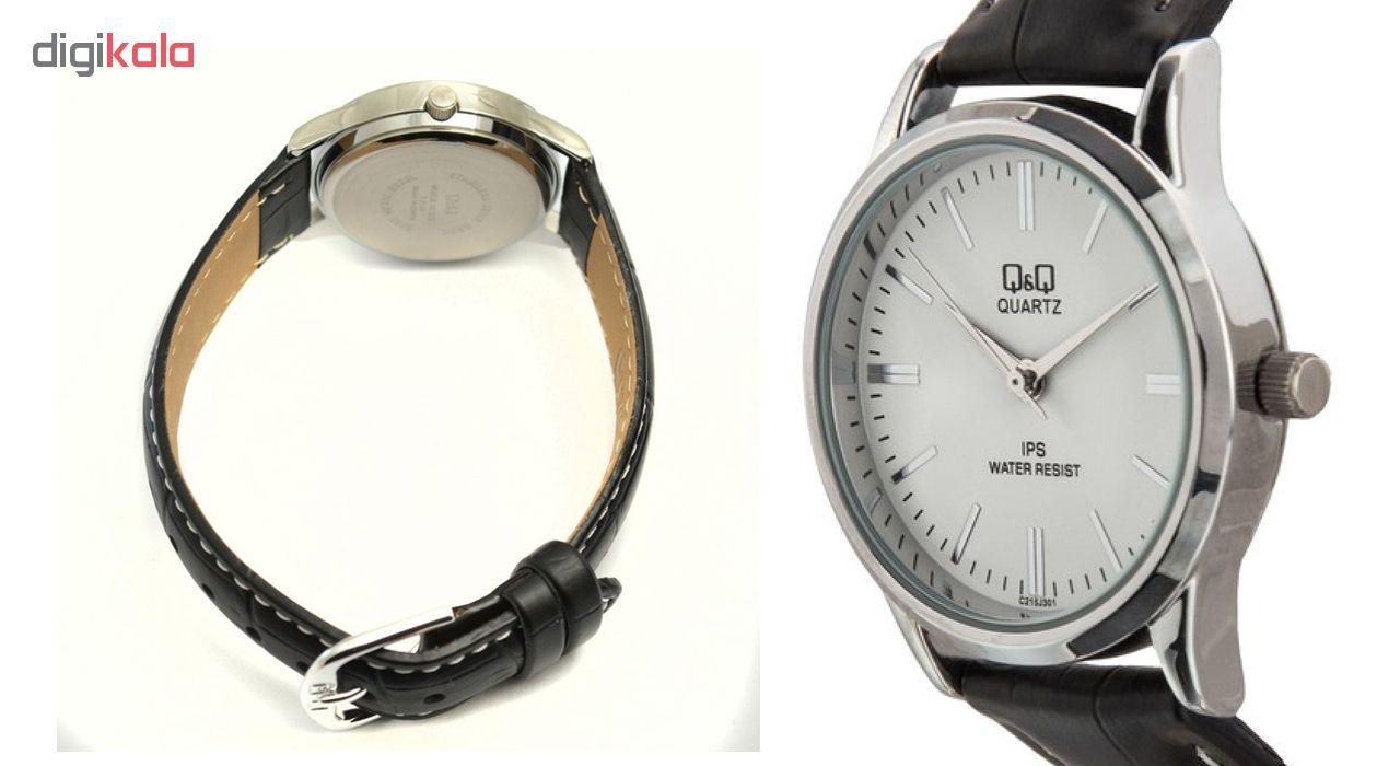 ساعت مچی عقربه ای زنانه کیو اند کیو مدل c215j301y به همراه دستمال مخصوص کلین واچ