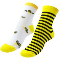 جوراب پنبه ای نیم ساق زنانه رنگ زرد طرح زنبور عسل مدل نانو کد 17