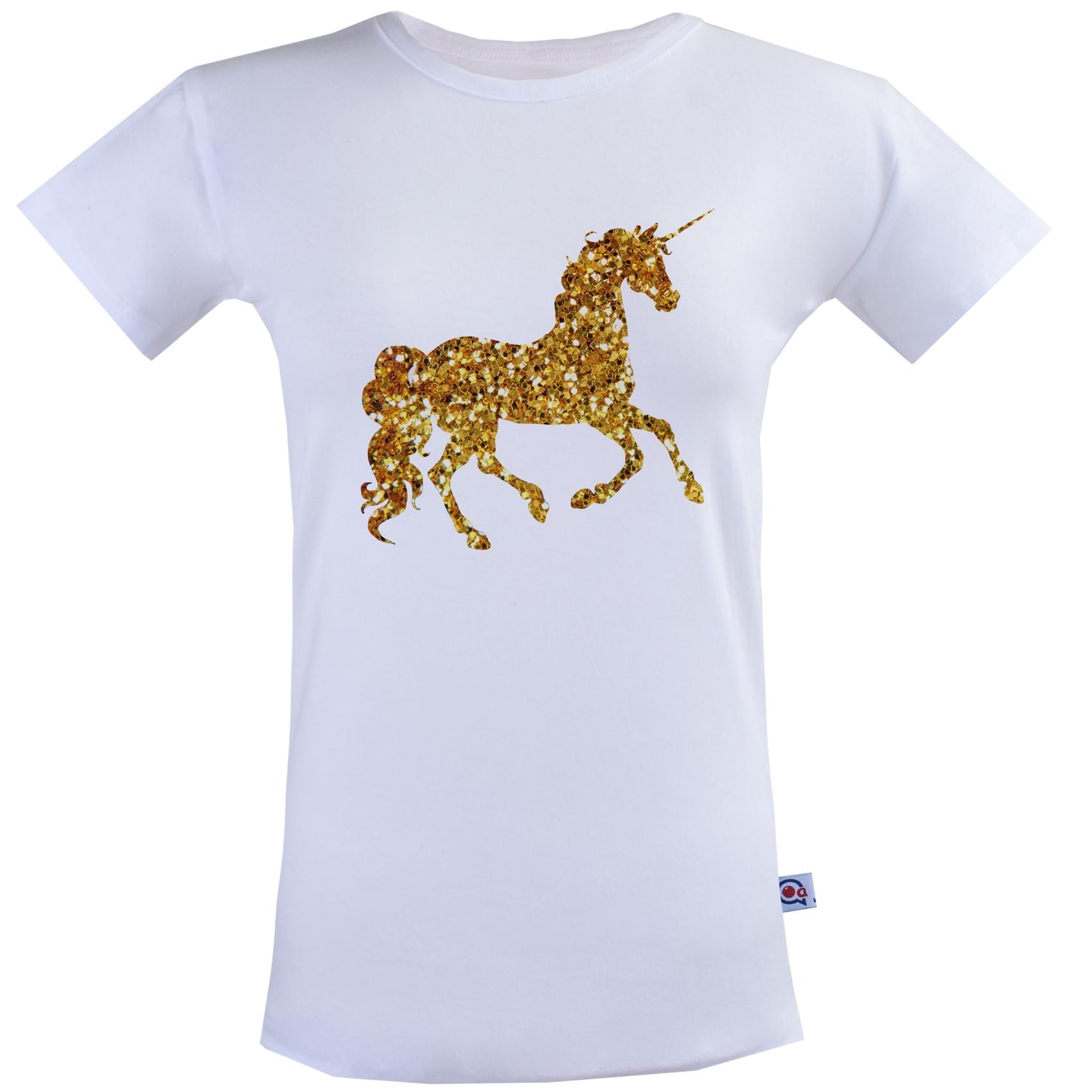 تیشرت زنانه آستین کوتاه آکو طرح اسب طلایی کد BS37