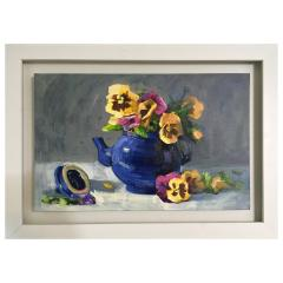 Photo of تابلو نقاشى رنگ روغن طرح گل بنفشه