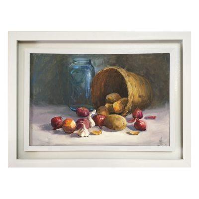 Photo of تابلو نقاشى رنگ روغن طرح سبد سیب زمینى و پیاز