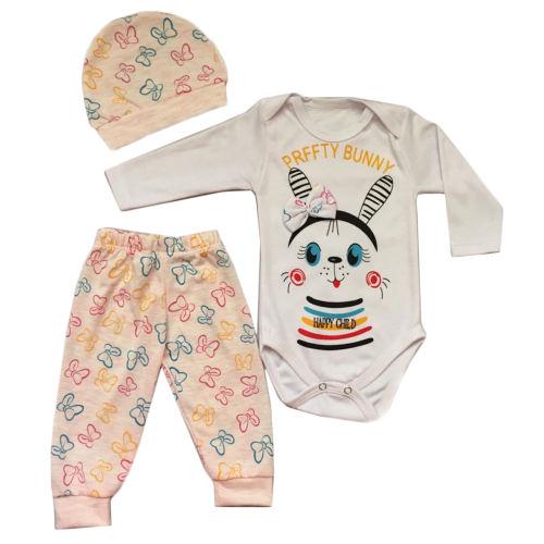 ست 3 تکه لباس نوزادی  مدل happz buny کد 11