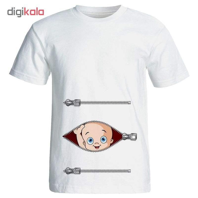 تی شرت آستین کوتاه بارداری طرح زیپ کد 3950 -  - 1