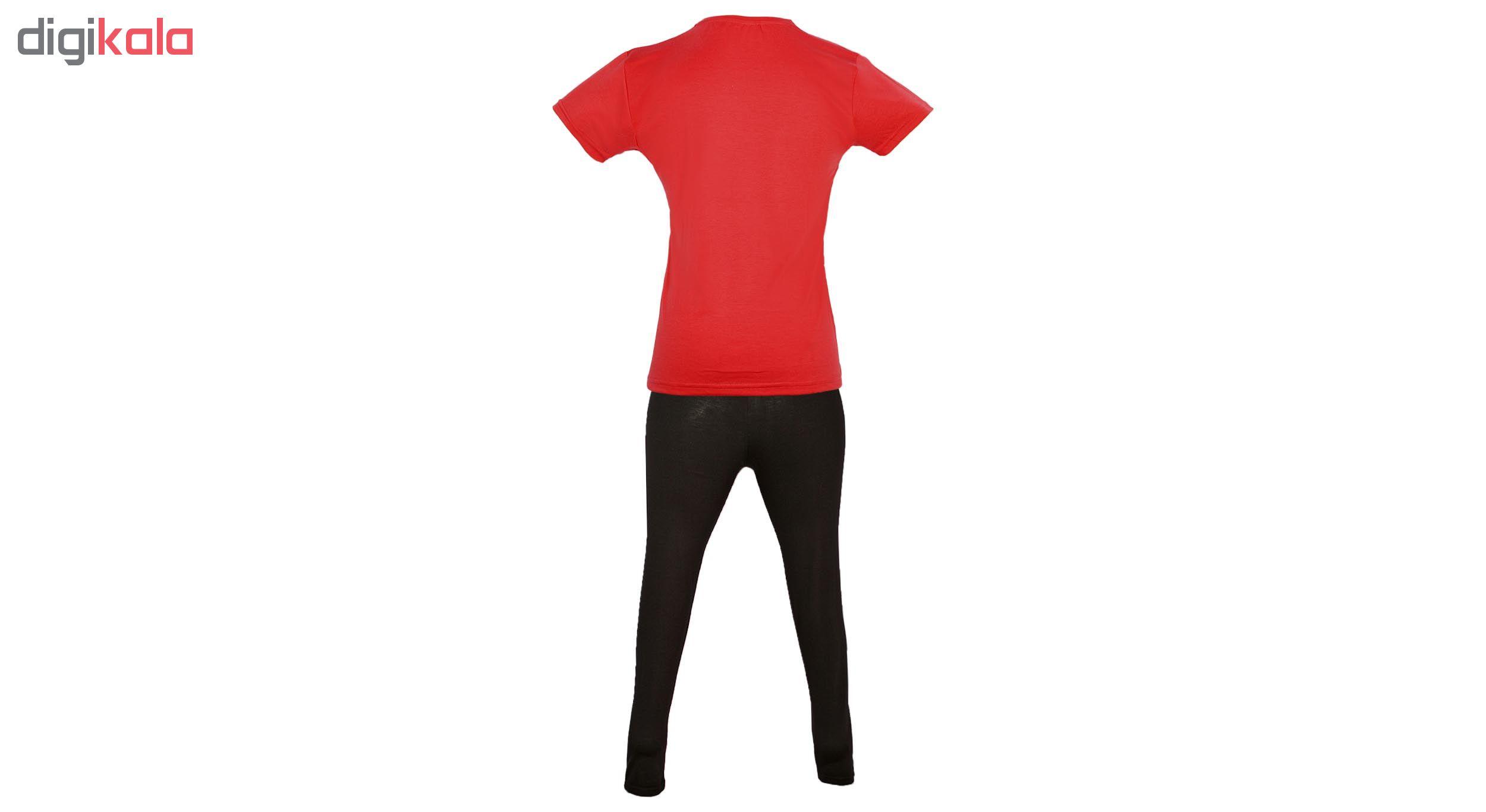 خرید                                      ست تیشرت و شلوار زنانه کد D008 رنگ قرمز