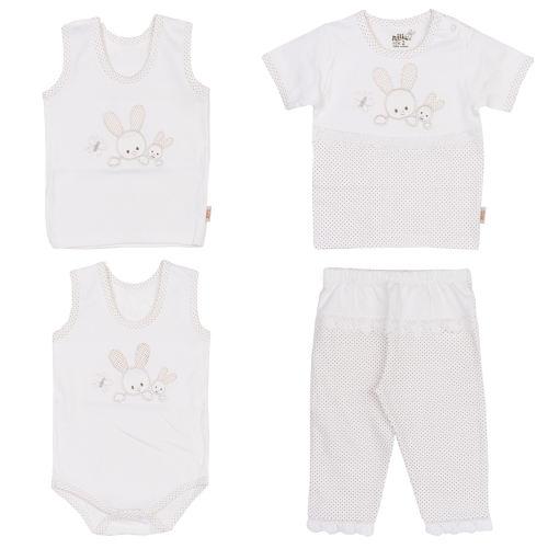ست 4 تکه لباس نوزادی نیلی طرح خرگوش