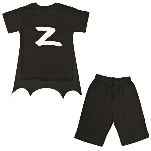 ست تیشرت و شلوارک پسرانه طرح زورو کد A206 رنگ مشکی