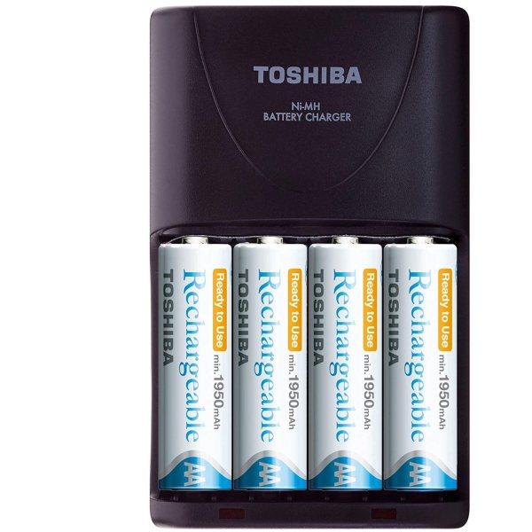 شارژر باتری توشیبا مدل TNHC-VE 64MC به  همراه 4 عدد باتری قلمی