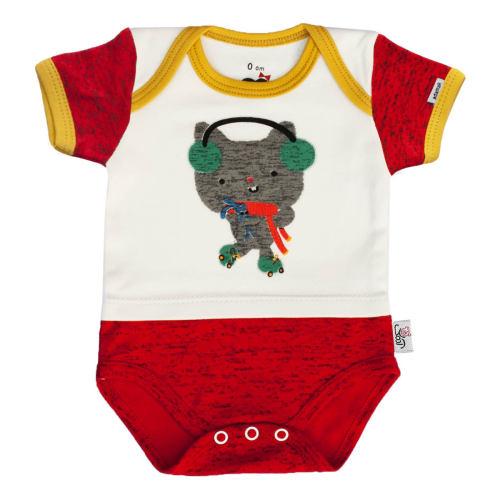 بادی آستین کوتاه نوزادی آدمک طرح گربه بازیگوش