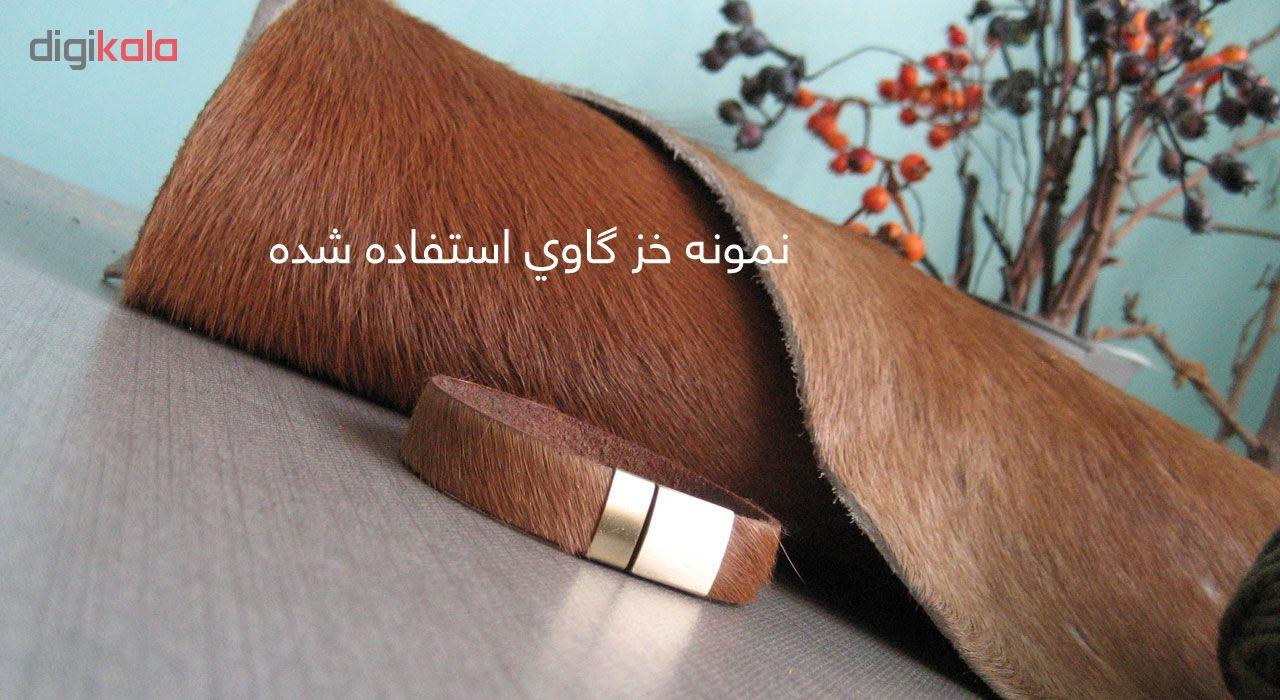 دستبند خز گاوی چرم دانوب مدل بوفالو کد 03