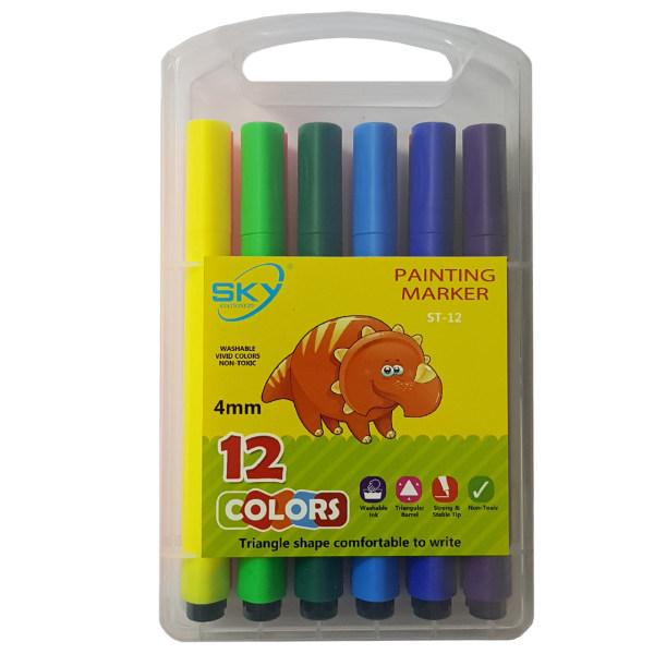 ماژیک نقاشی 12 رنگ اسکای مدل ST-12