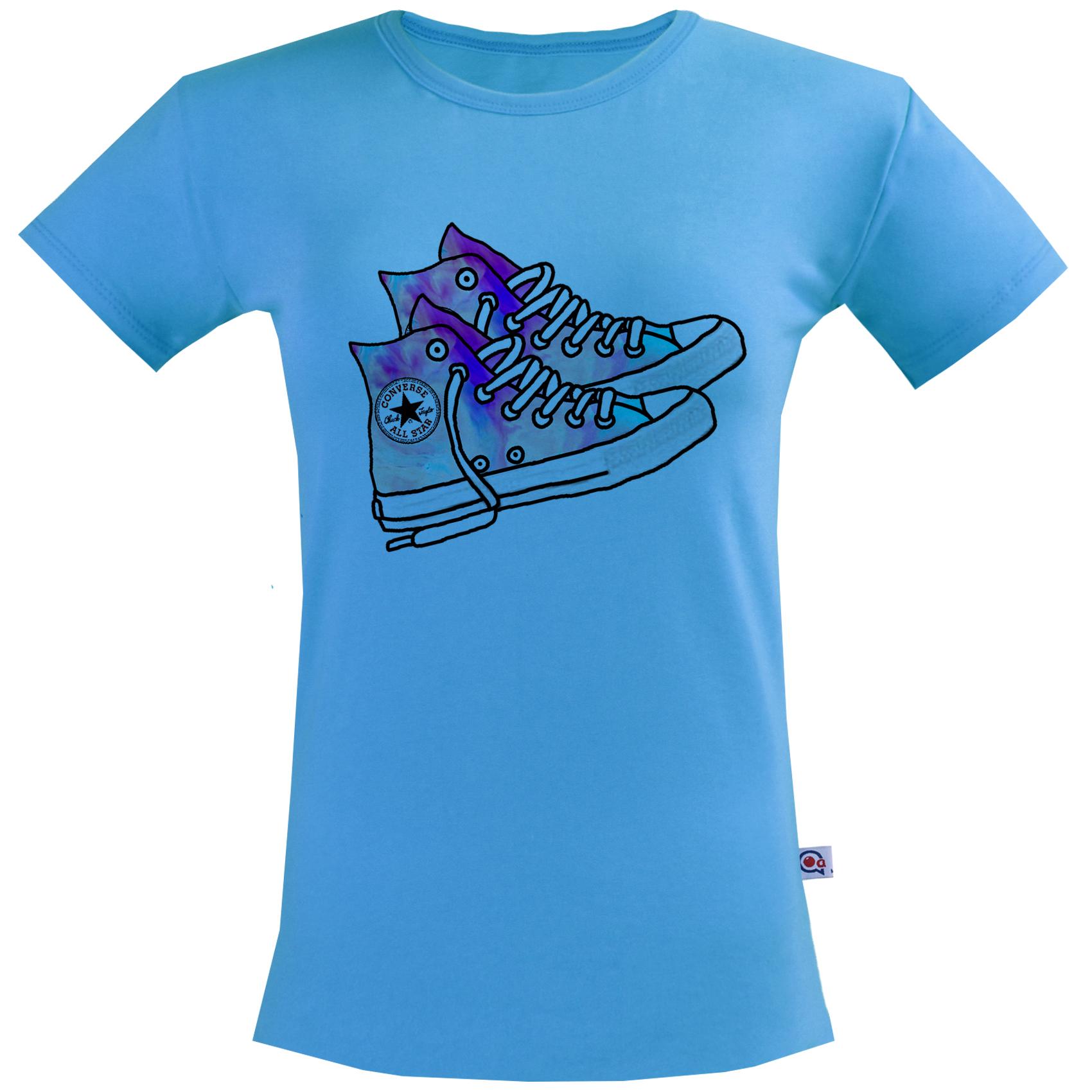 تی شرت زنانه آکو طرح کتونی کد BA80