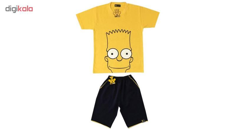 ست تی شرت و شلوارک پسرانه خرس کوچولو مدل Simpson کد 001