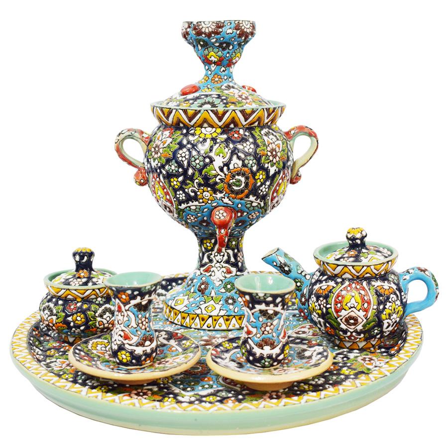 سرویس 11 پارچه سماور و چای خوری میناکاری کد 1682728