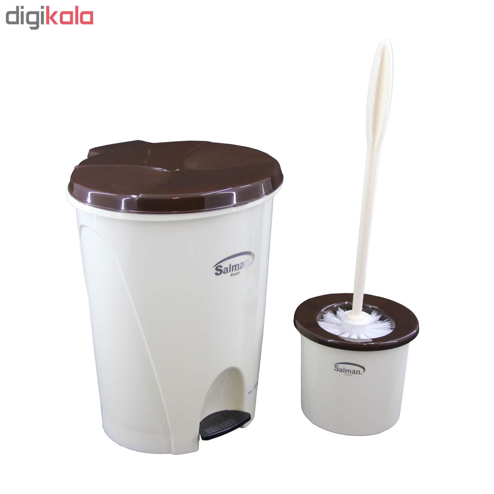 ست سطل زباله و فرچه پلاستیک سلمان مدل گلبرگ 280 main 1 2