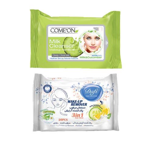 دستمال مرطوب کامان مدل Milk بسته 20 عددی به همراه دستمال مرطوب دافی مدل Cucumber & Lemon بسته 20 عددی thumb