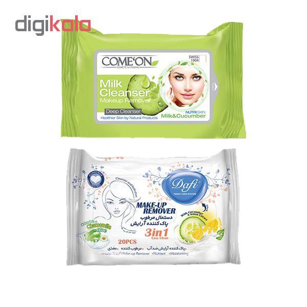 دستمال مرطوب کامان مدل Milk بسته 20 عددی به همراه دستمال مرطوب دافی مدل Cucumber & Lemon بسته 20 عددی