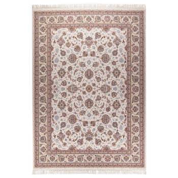 فرش  ماشینی دنیای فرش طرح افشان زمینه کرم
