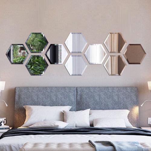 آینه دکوراتیو سایان هوم طرح شش ضلعی مجموعه 10 تکه