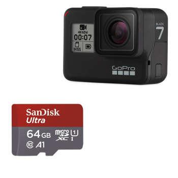 دوربین فیلم برداری ورزشی گوپرو مدل HERO7 Black Quick Stories به همراه کارت حافظه سن دیسک