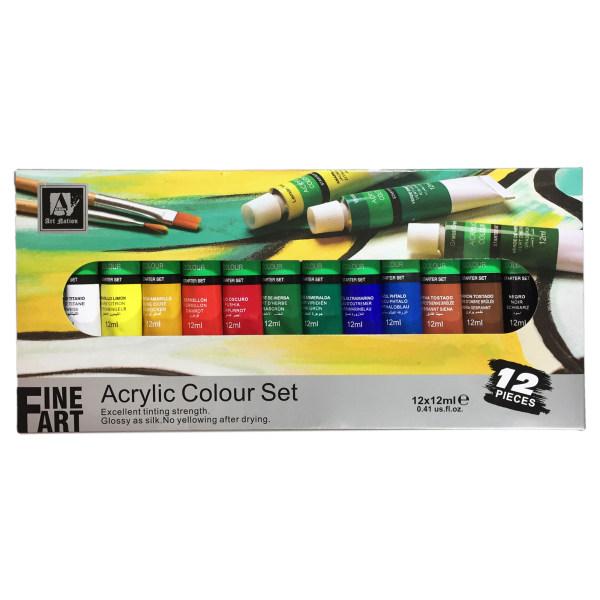 رنگ اکریلیک آرت نیشن مدل Fine Art حجم 12 میلیلیتر بسته 12 عددی
