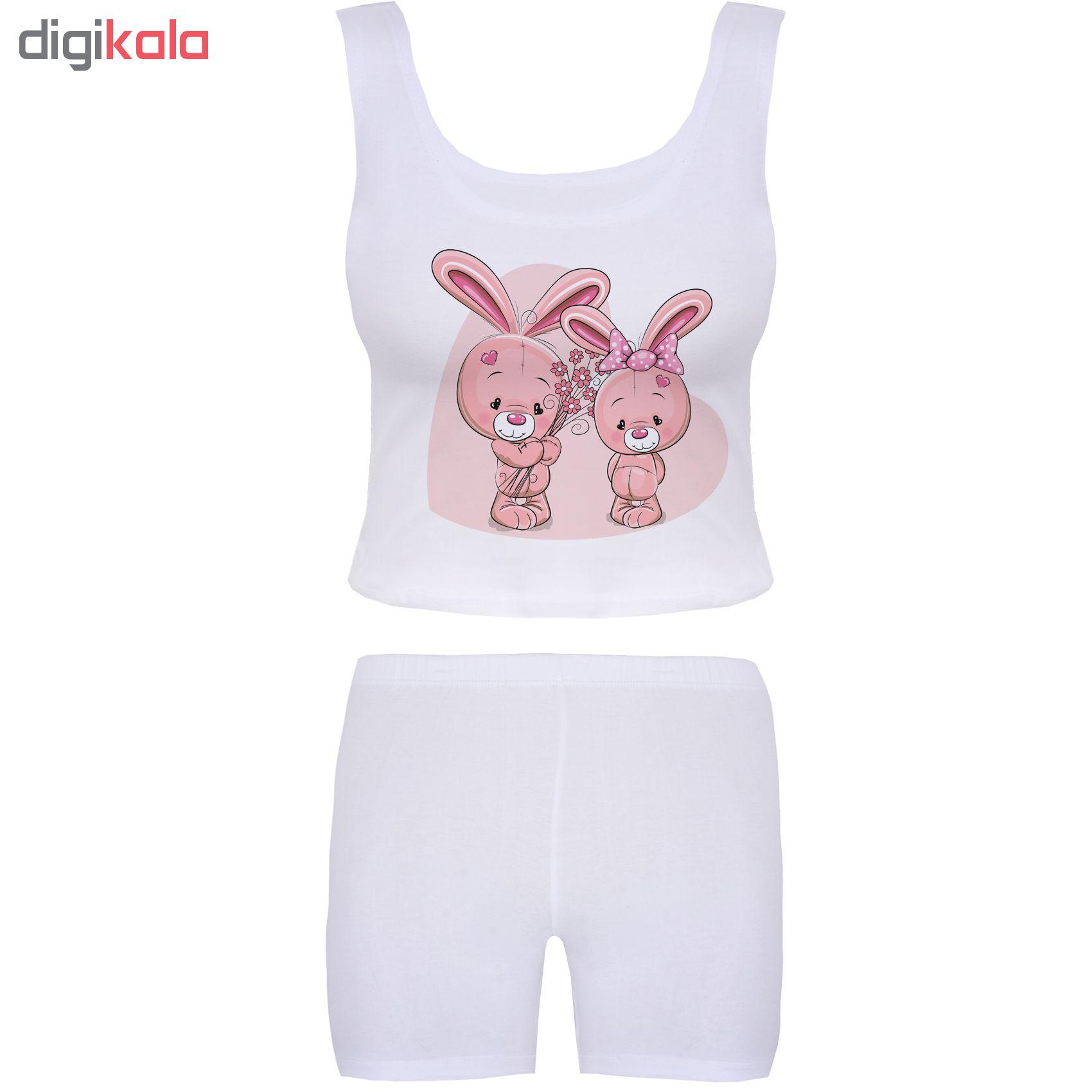 خرید                                      ست تاپ و شلوارک زنانه آکو طرح خرگوش کد BS04