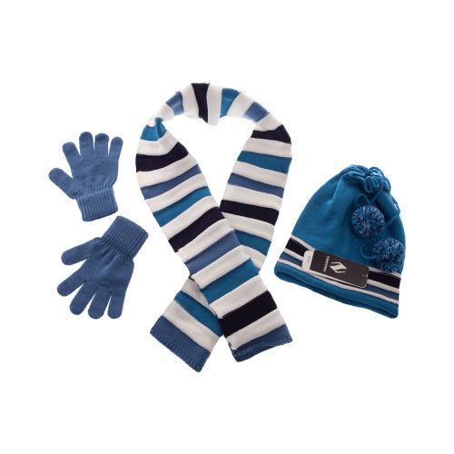 ست شال گردن کلاه و دستکش تارتن کد 302 رنگ آبی
