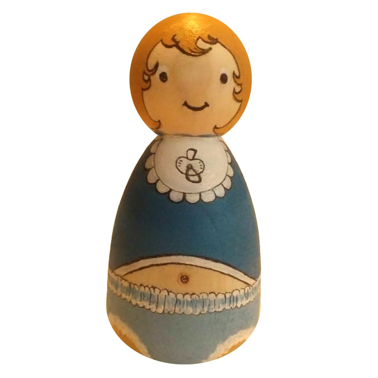 خرید                     عروسک چوبی مدل نی نی سیسمونی کد01BLUE BABY