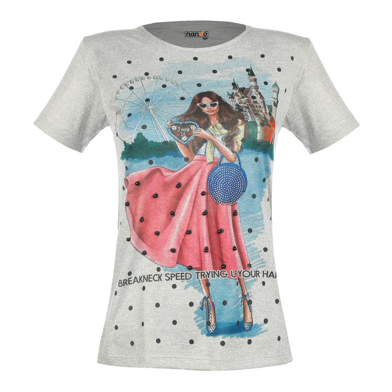 تی شرت زنانه ناندو استایل طرح دختر دامن مرواریدی کد NS38