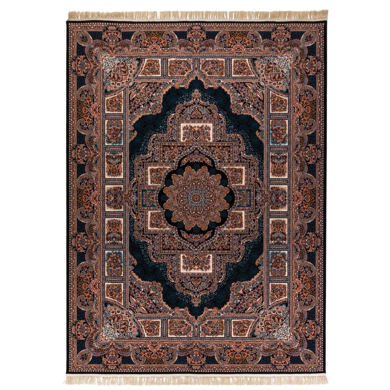 فرش  ماشینی دنیای فرش طرح حوض نقره زمینه سورمه ای