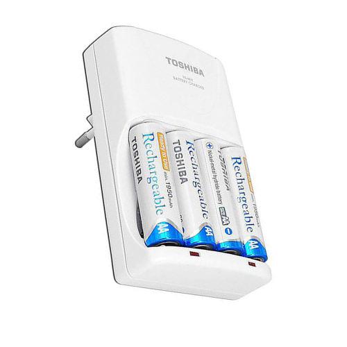شارژر باتری توشیبا مدل TNHC-VE به همراه 4 عدد باتری قلمی