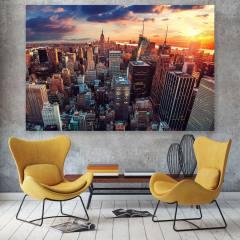 تابلو شاسی طرح زیباترین عکس های جهان طرح غروب منهتن نیویورک کد 430