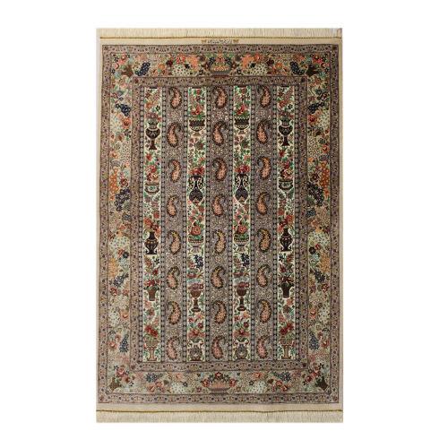 فرش دستبافت یک ونیم متری قم گنجینه هنر کد 1105641