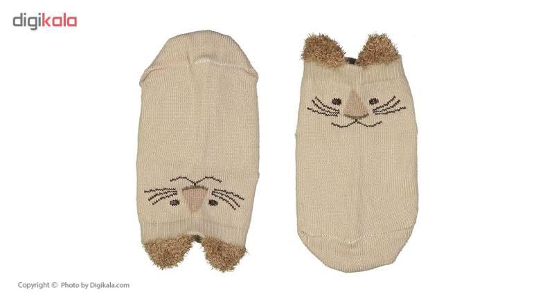جوراب نوزادی طرح گربه رنگ کرم