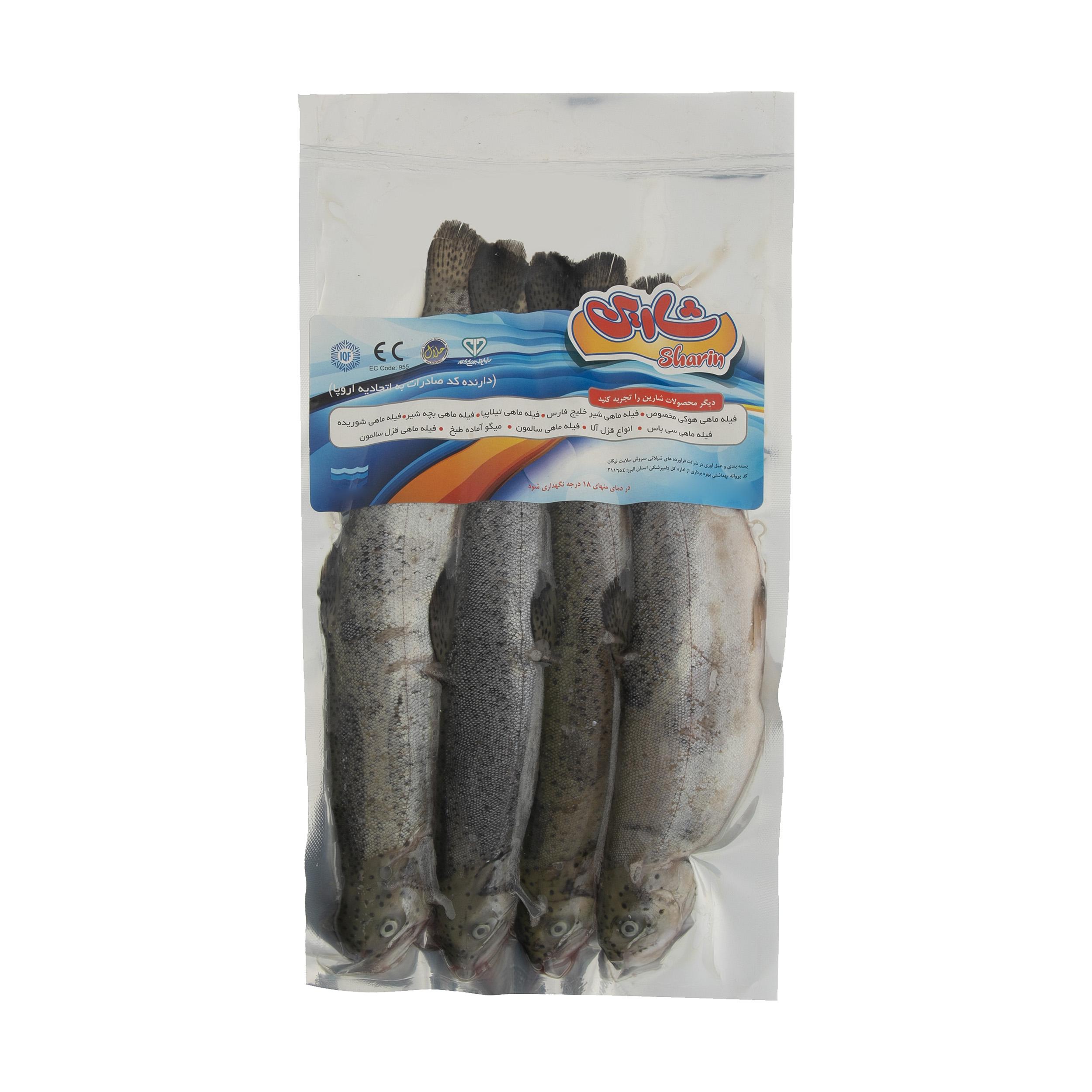 ماهی قزل آلا شکم خالی شارین وزن 1000 گرم