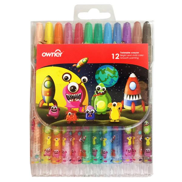 مداد شمعی 12 رنگ اونر طرح Aliens مدل Twistable کد 533812