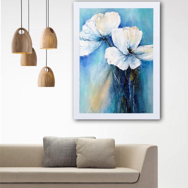 تابلو گالری استاربوی طرح گل سفید مدل هنری L49