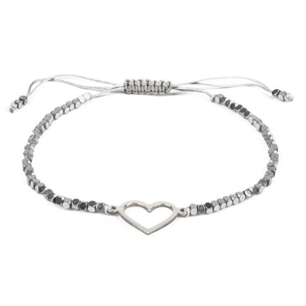 دستبند نقره زنانه ریسه گالری طرح قلب مدل Ri3-H1136-Silver